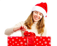 Happy woman and Christmas Present Stock Photography