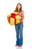 Happy woman and Christmas Present Stock Photos