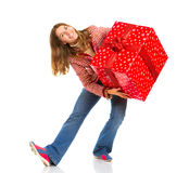 Happy woman and Christmas Present Stock Image