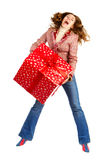 Happy woman and Christmas Present Royalty Free Stock Photo