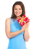 Happy woman and Christmas Presents royalty free stock images