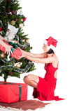 Happy woman with Christmas presents Royalty Free Stock Images