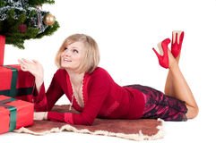 Happy woman with Christmas presents Royalty Free Stock Photos