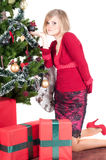 Happy woman with Christmas presents Stock Photo
