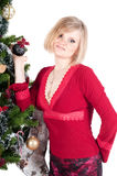Happy woman with Christmas presents Stock Images