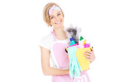Happy woman with cleaning equipment Stock Image