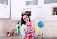 Happy woman cleaning kitchen Royalty Free Stock Photos