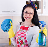 Happy woman cleaning kitchen Royalty Free Stock Photo