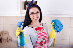 Happy woman cleaning kitchen Royalty Free Stock Image