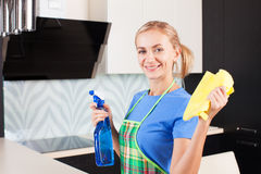 Happy woman cleaning kitchen Royalty Free Stock Photography