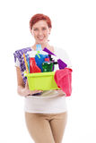 Happy woman with cleaning utensils Royalty Free Stock Image