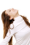 Happy woman with closed eyes Royalty Free Stock Images