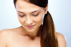 Happy woman with closed eyes. Closeup portrait of a thoughtful happy woman with closed eyes Royalty Free Stock Photos