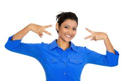 Happy woman. Closeup portrait of young happy smiling confident excited woman giving peace victory or two sign gesture, isolated on white background. Positive Stock Photography