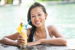 Happy woman with cocktail Royalty Free Stock Images