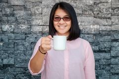 Happy Woman with Coffee Stock Photo