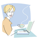 Happy Woman with Coffee on Laptop Stock Photography