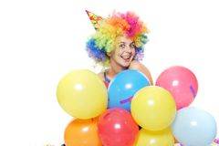 Happy woman with colorful balloons Stock Photos