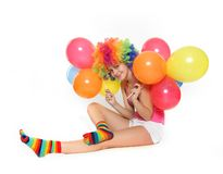 Happy woman with colorful balloons Royalty Free Stock Photo
