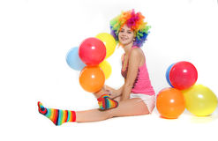 Happy woman with colorful balloons Royalty Free Stock Photos