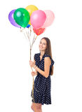Happy woman with colorful balloons Royalty Free Stock Images