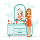 Happy woman combing hair a front of mirror. Girl with comb in bathroom, vector morning combing illustration Stock Image