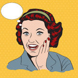 Happy woman, commercial retro clipart illustration Royalty Free Stock Photo