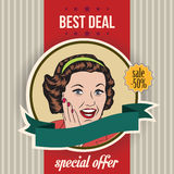 Happy woman, commercial retro clipart illustration Royalty Free Stock Photos