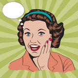 Happy woman, commercial retro clipart illustration Stock Photo