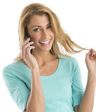 Happy Woman Communicating On Smart Phone Royalty Free Stock Images