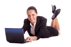 Happy woman with computer Royalty Free Stock Photo