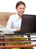 Happy woman at computer Stock Photography