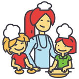 Happy woman cooking with kids, mother with daughter and son on kitchen, bakery family concept. stock illustration