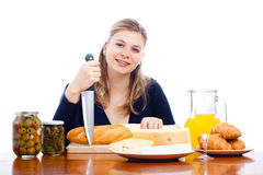 Happy woman cooking and preparing food Stock Photos