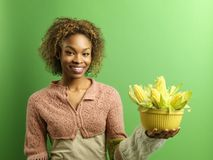 Happy woman with corn royalty free stock images