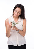 Happy woman counting money Stock Images