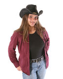 Happy woman in cowboy hat Stock Photography