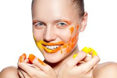 Happy woman with creative makeup Stock Images