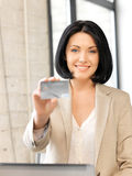 Happy woman with credit card. Bright picture of happy woman with credit card Royalty Free Stock Photos