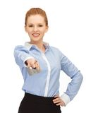 Happy woman with credit card. Bright picture of happy woman with credit card Stock Image