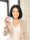 Happy woman with credit card. Bright picture of happy woman with credit card Stock Photography
