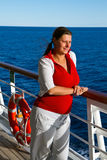 Happy woman on cruise ship. An Happy woman on cruise ship Royalty Free Stock Photo