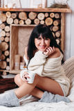 Happy woman with cup fo tea Royalty Free Stock Image