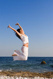 Happy woman dance in the beach Royalty Free Stock Photos