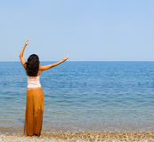 Happy woman dance in the beach Royalty Free Stock Photo