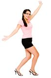Happy woman dancing Stock Photo