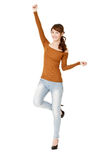 Happy woman dancing Stock Photo