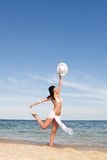 Happy woman dancing in the beach Royalty Free Stock Photo
