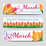 Happy woman day banners with tulips Stock Photography