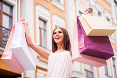 Happy woman after day shopping. Stock Photo